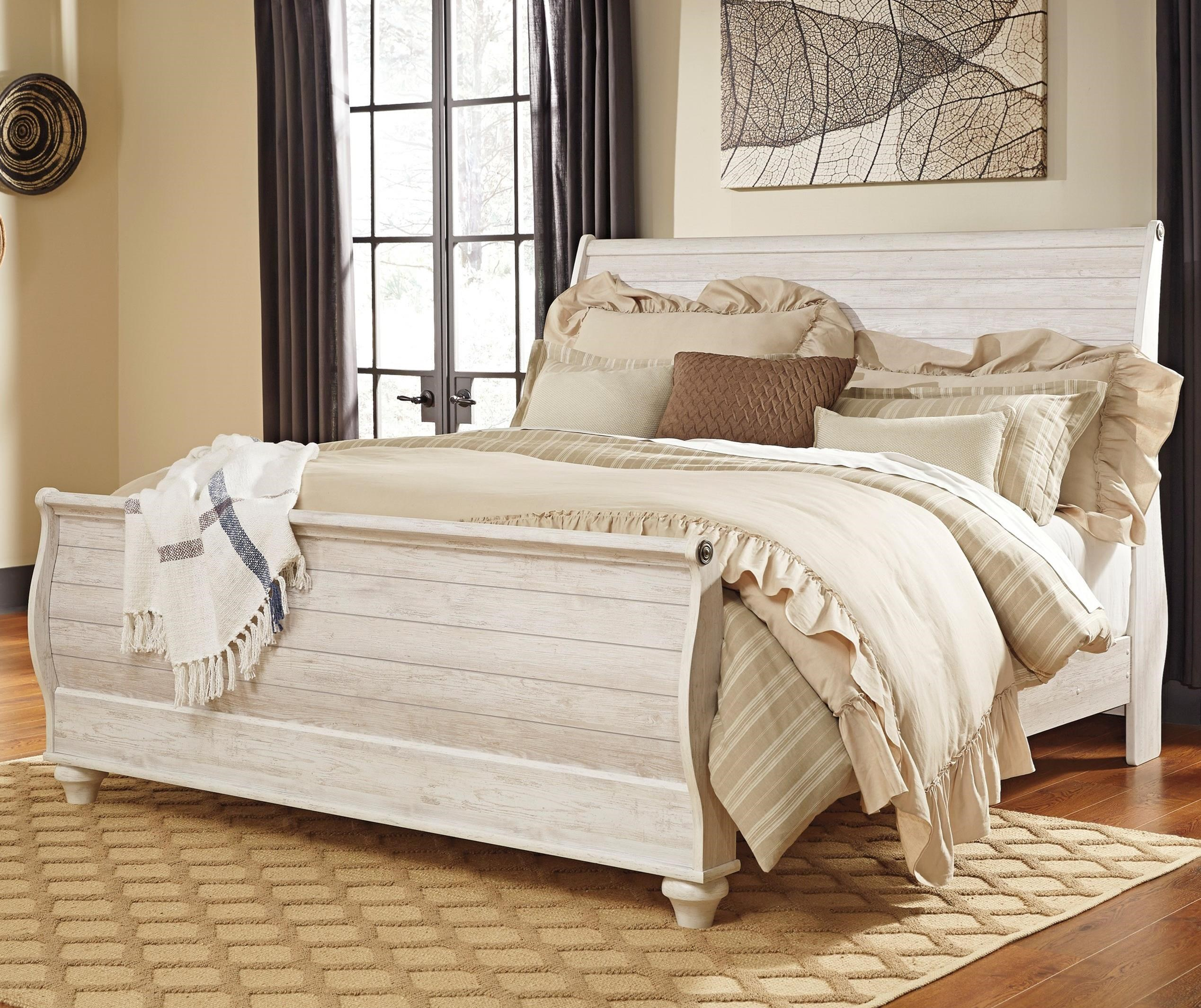 Signature Design by Ashley Willowton King Sleigh Bed - Item Number: B267-78+76+97