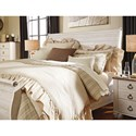 Signature Design by Ashley Willowton King Sleigh Bed in Washed White Finish