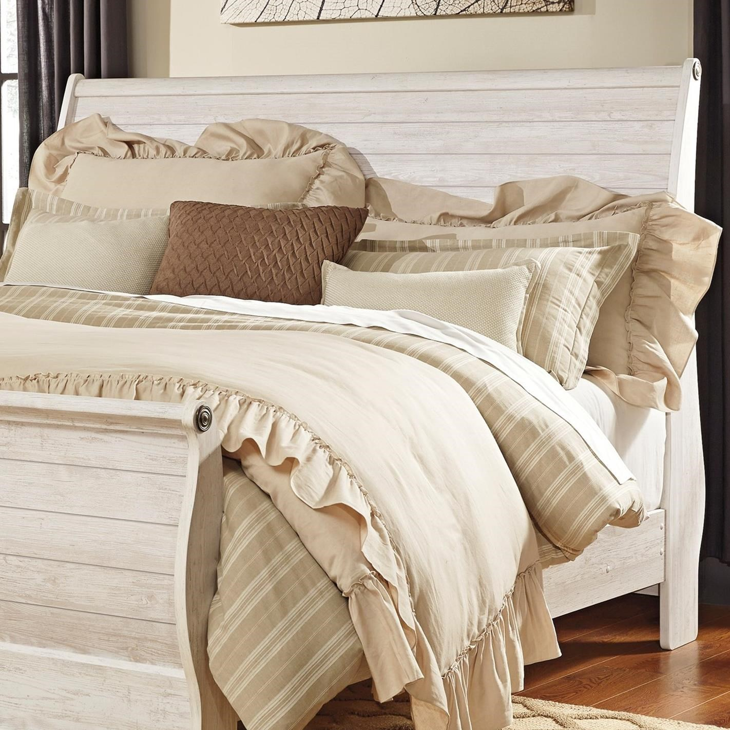Ashley Signature Design Willowton King Sleigh Headboard In Washed Rustic Finish Johnny