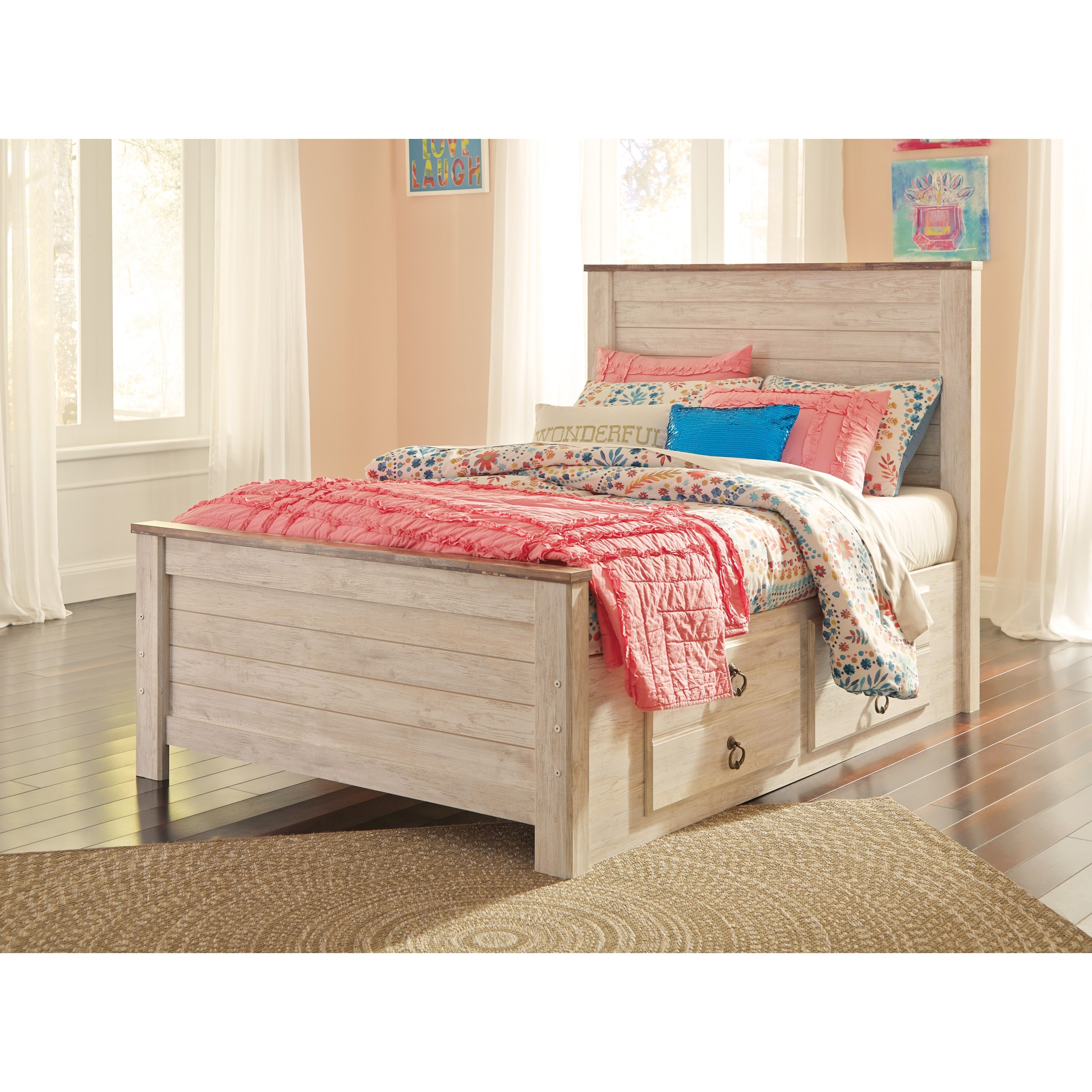 Ashley signature design willowton full bed with underbed - Bedroom sets with drawers under bed ...