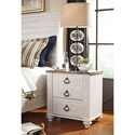 Signature Design by Ashley Willowton Two Drawer Night Stand with USB Charging