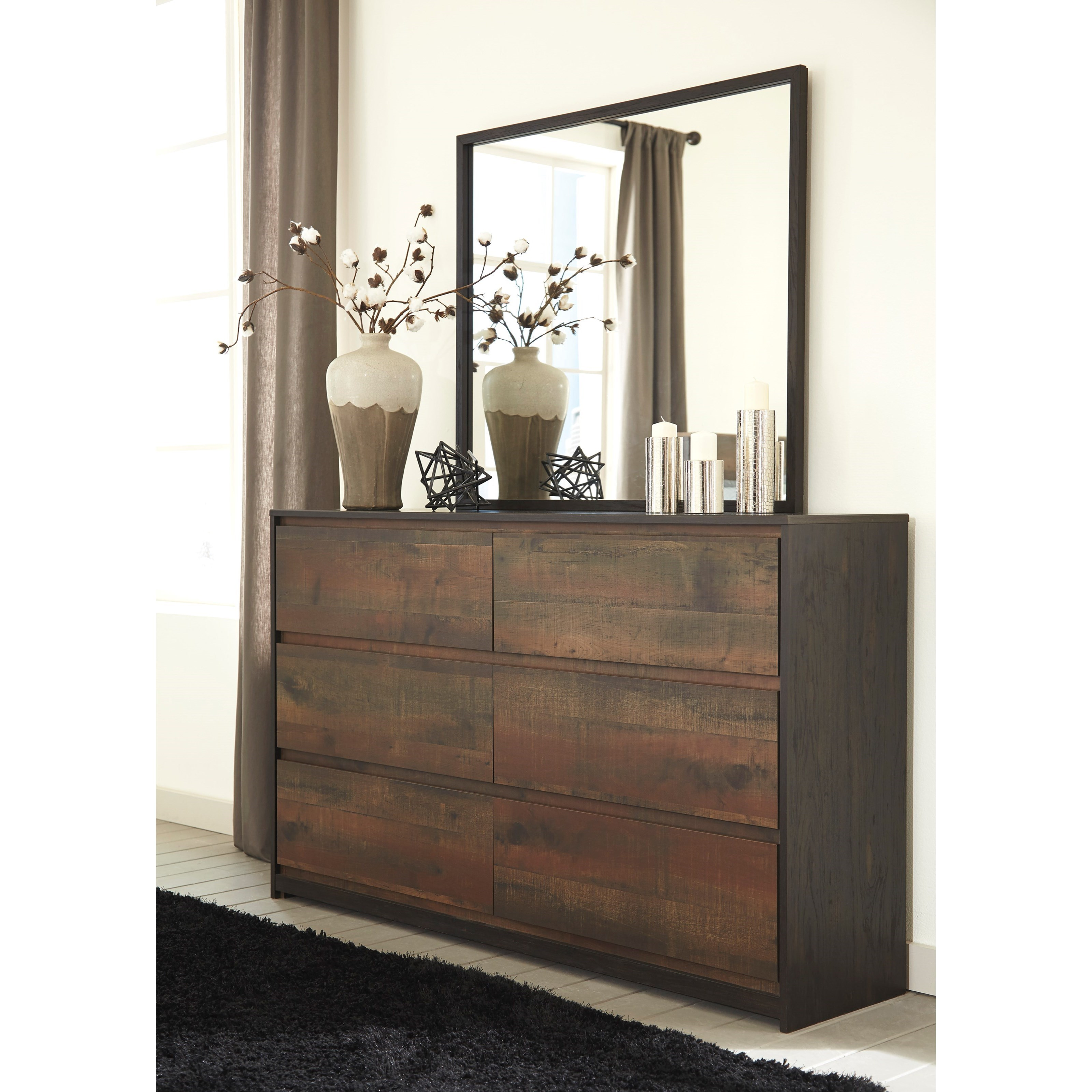 Signature Design By Ashley Windlore Modern Rustic Dresser Amp Bedroom Mirror Royal Furniture