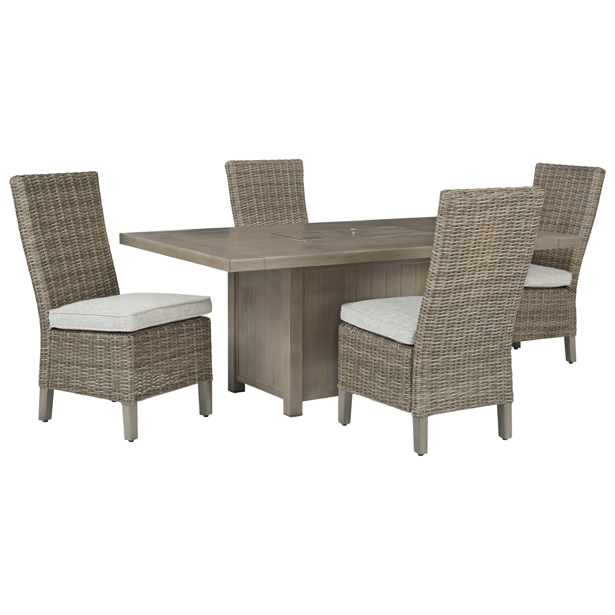 Windon Barn 5-Piece Rectangular Fire Pit Table Set by Signature Design by Ashley at Furniture and ApplianceMart
