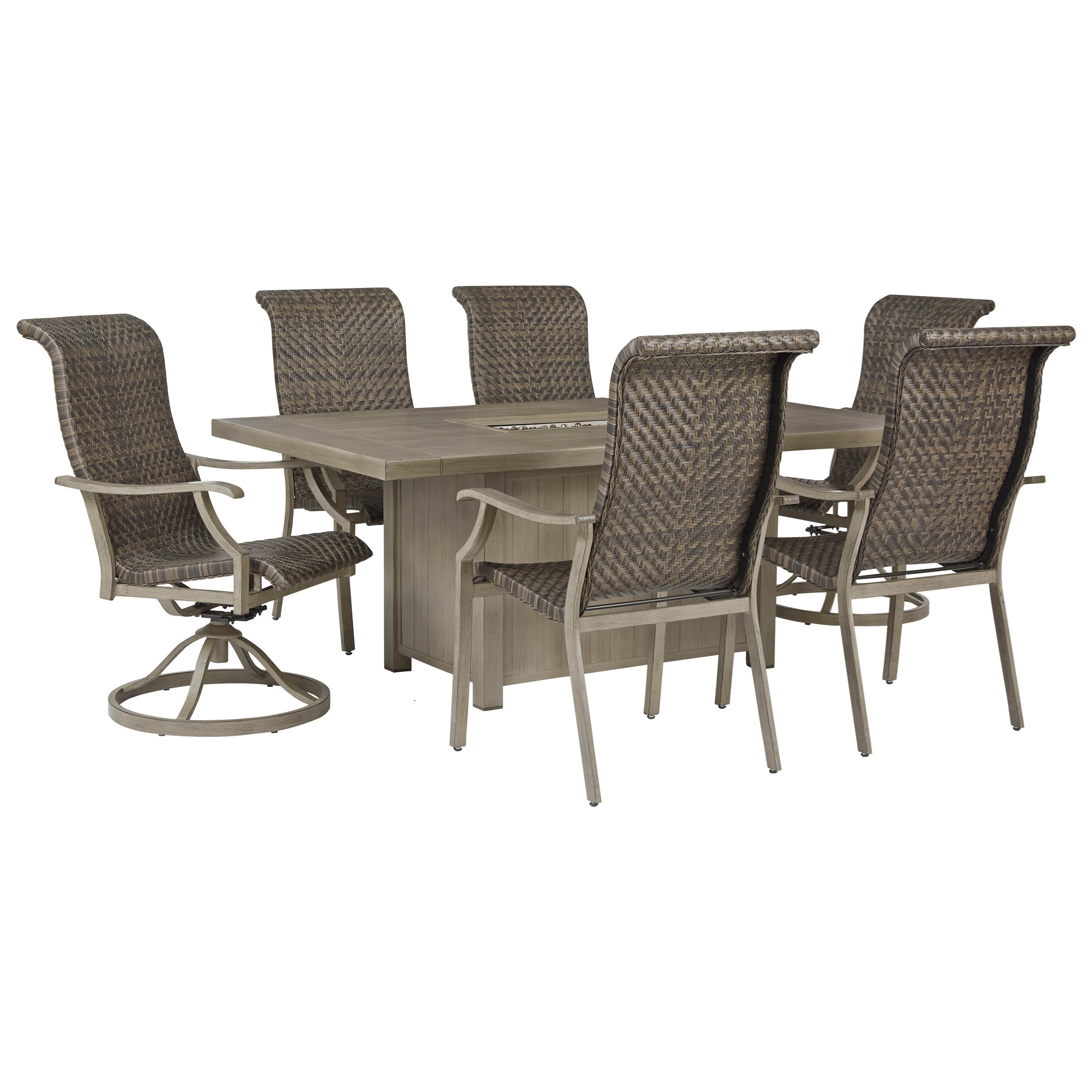 Windon Barn 7-Piece Rectangular Fire Pit Table Set by Signature Design by Ashley at Furniture and ApplianceMart