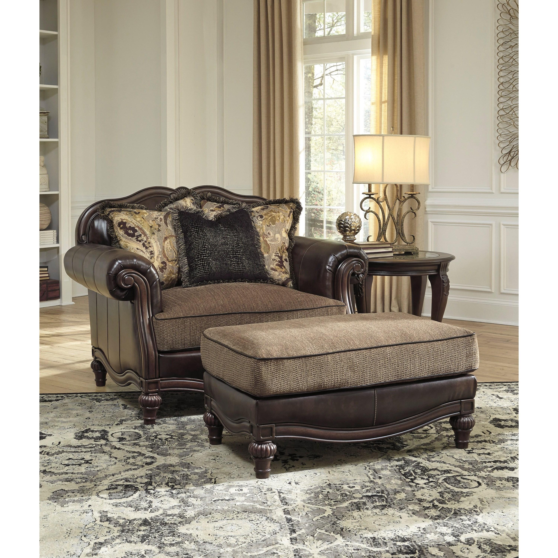 Ashley Signature Design Winnsboro Durablend 5560214 Traditional Fabric Faux Leather Ottoman