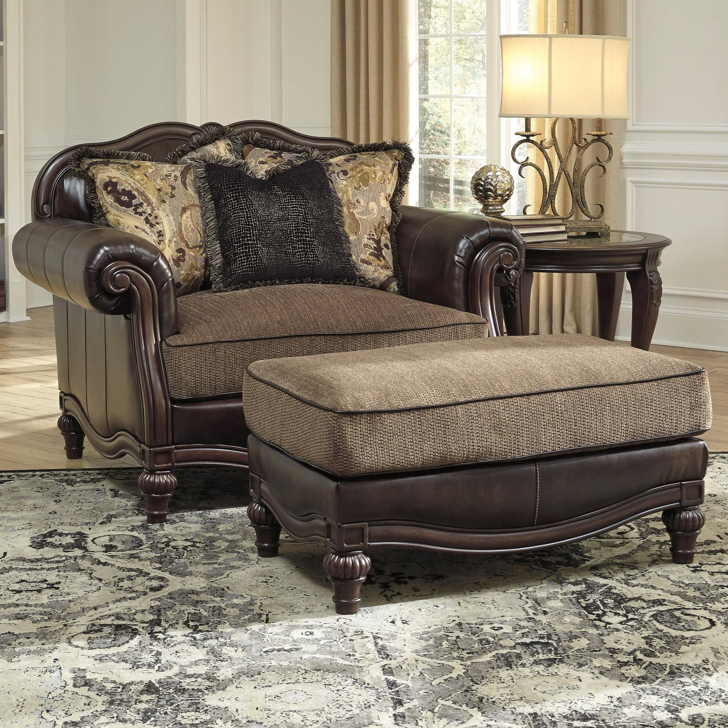 Bon Signature Design By Ashley Winnsboro DuraBlend Chair And A Half U0026 Ottoman