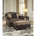 Signature Design by Ashley Winnsboro DuraBlend Traditional Fabric/Bonded Leather Match Chair and a Half