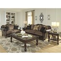 Signature Design by Ashley Winnsboro DuraBlend Traditional Fabric/Bonded Leather Match Loveseat