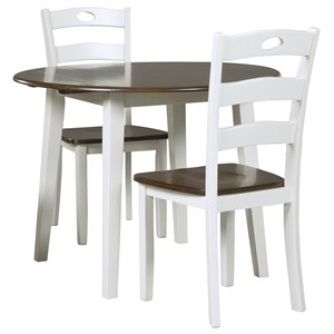 Signature Design by Ashley Woodanville 3-Piece Round Drop Leaf Table Set