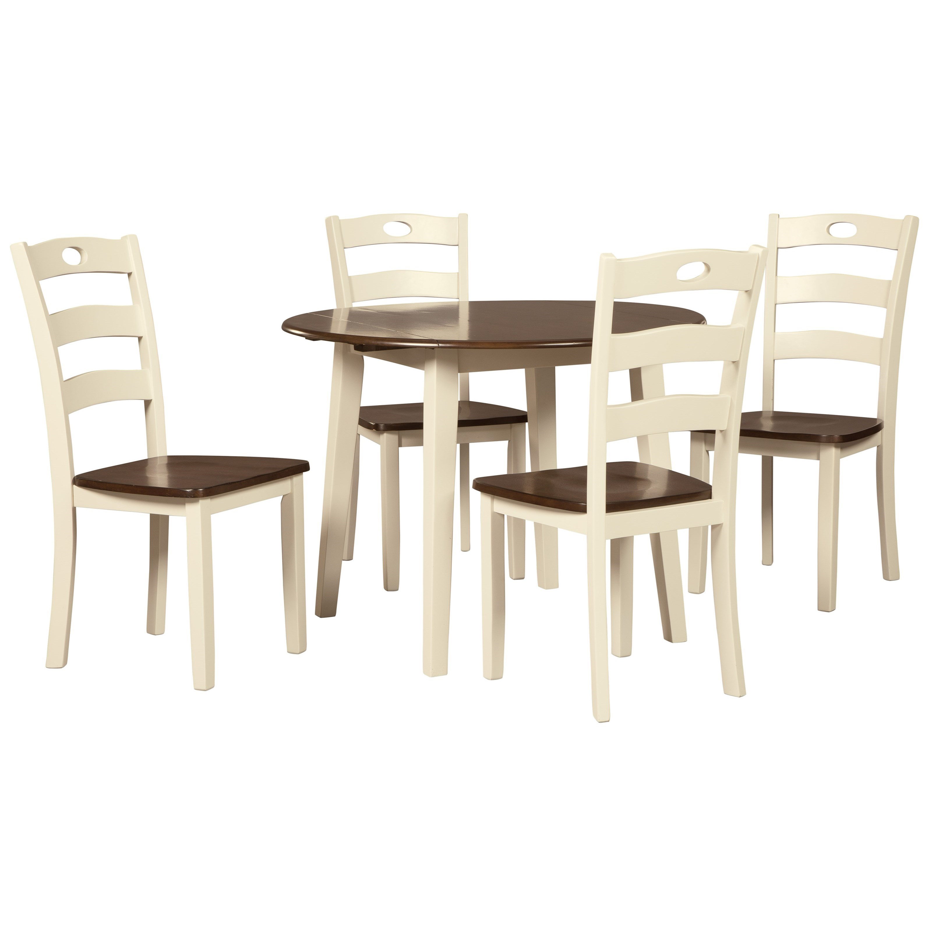 Signature Design by Ashley Woodanville 5-Piece Round Drop Leaf Table Set - Item Number: D335-15+4x01
