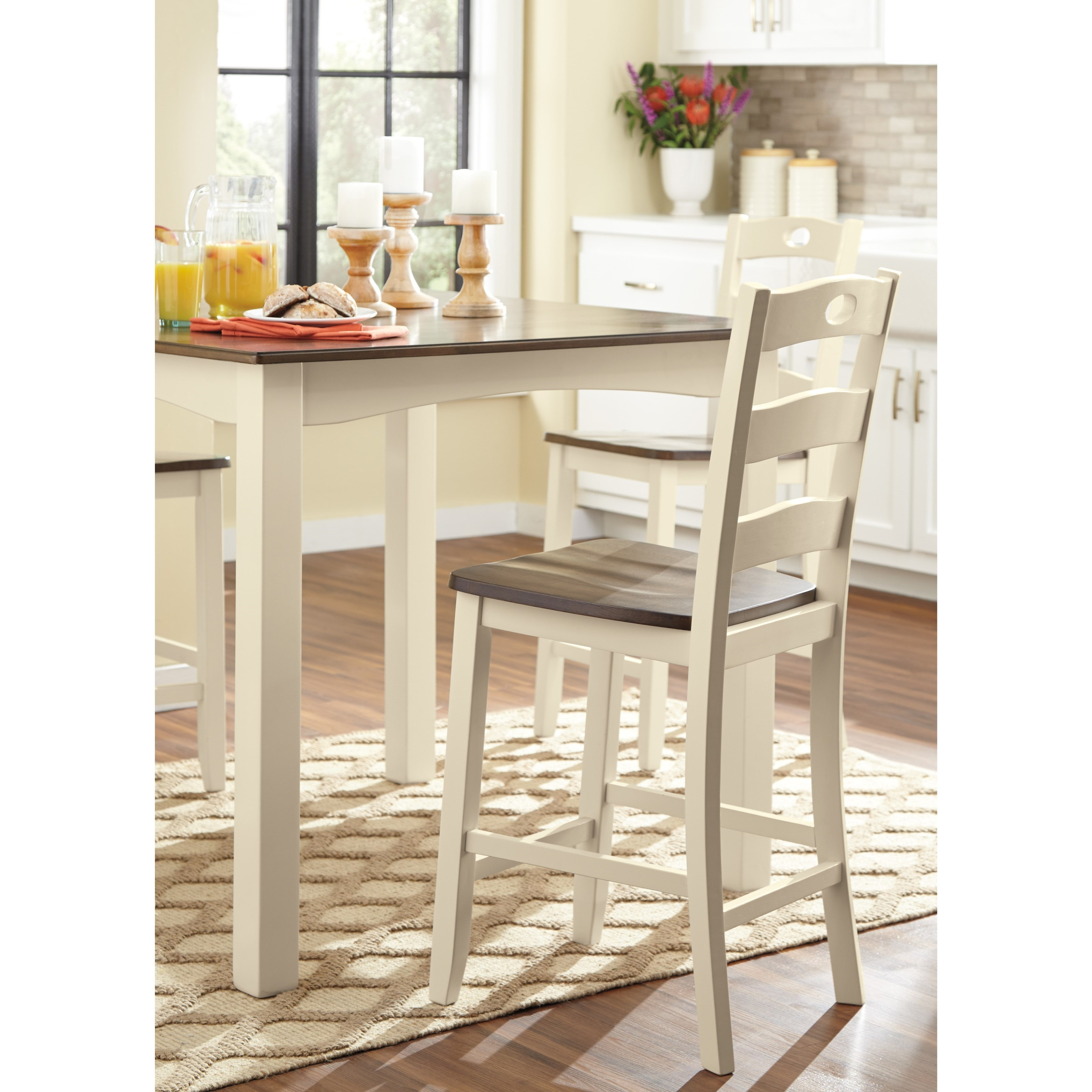 Signature Design By Ashley Woodanville Two Tone Finish 5 Piece Square Counter Table Set Conlin