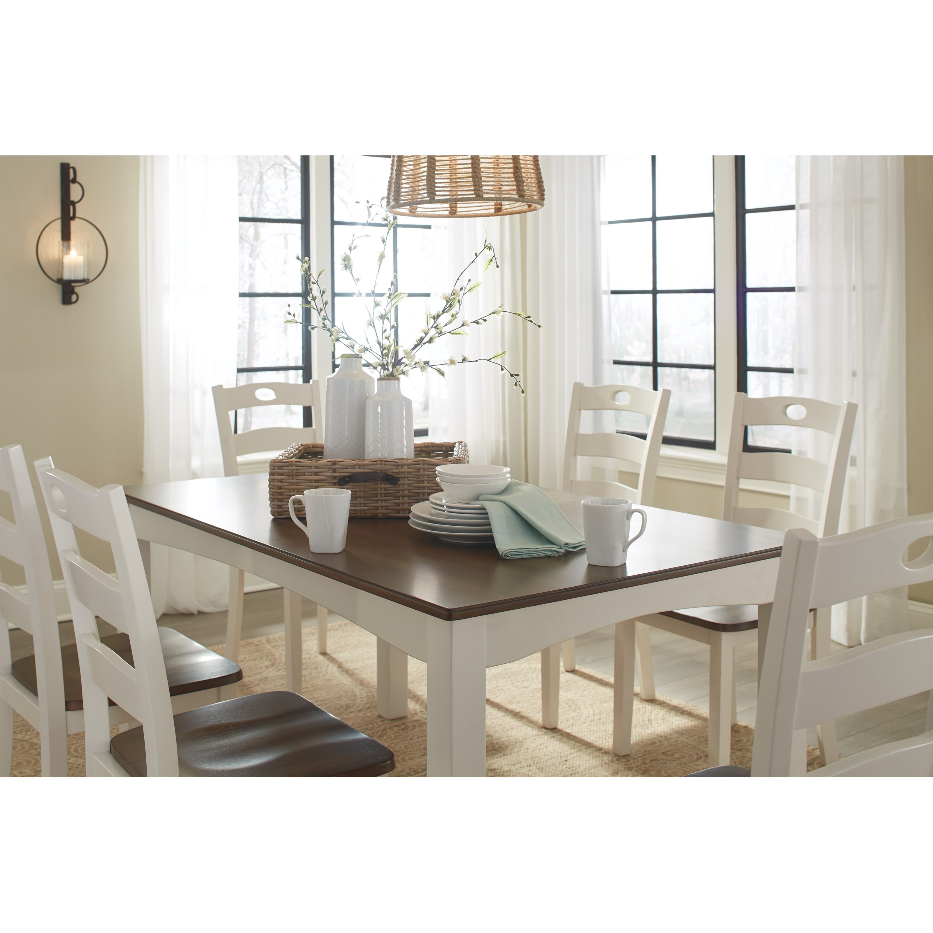 Ashley signature design woodanville two tone finish 7 for 2 piece dining room set