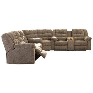 Benchcraft Workhorse 3-Piece Sectional with Wedge