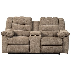 Signature Design by Ashley Workhorse Double Reclining Loveseat w/ Console