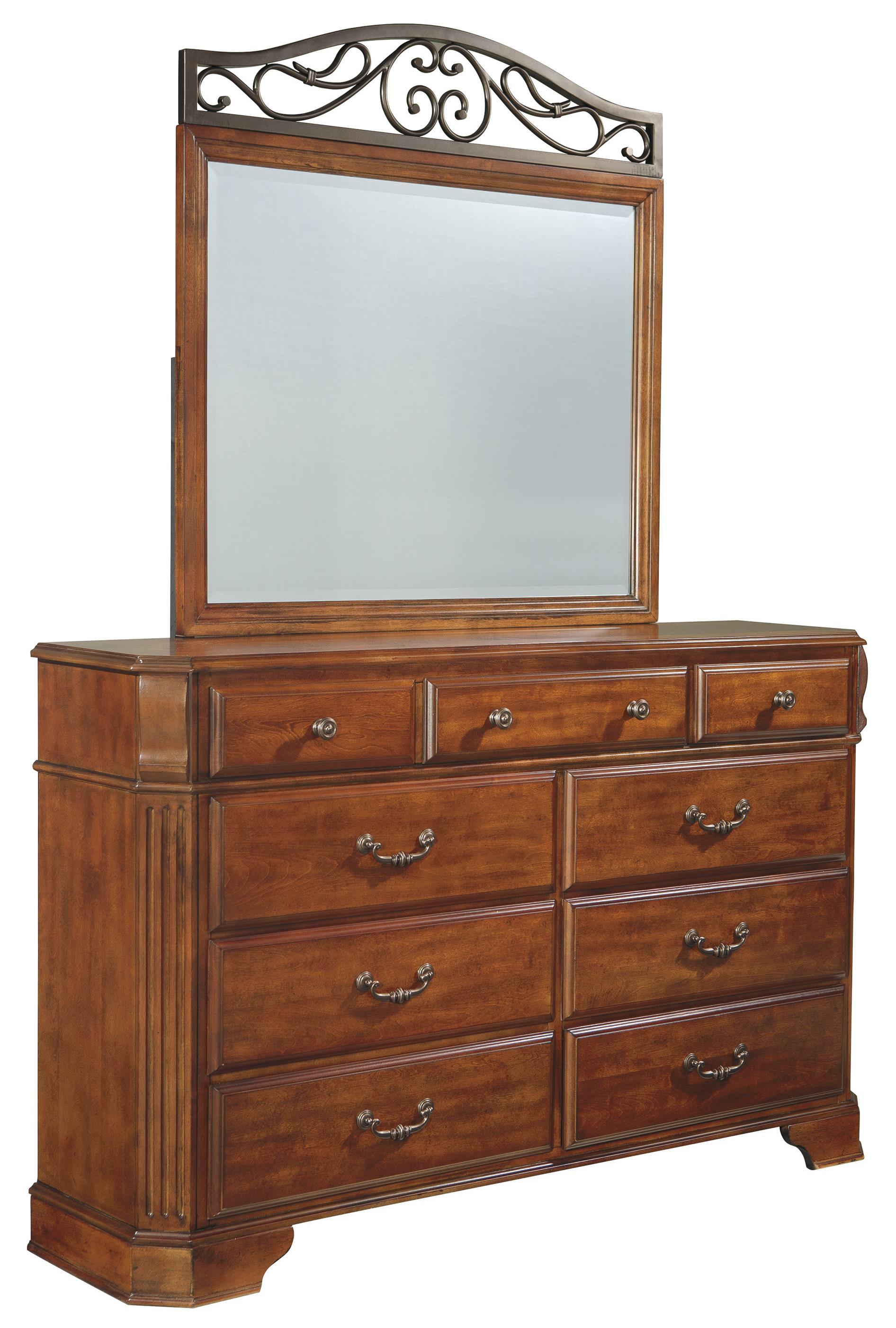 Signature Design by Ashley Wyatt 9 Drawer Dresser & Mirror - Item Number: B429-31+36