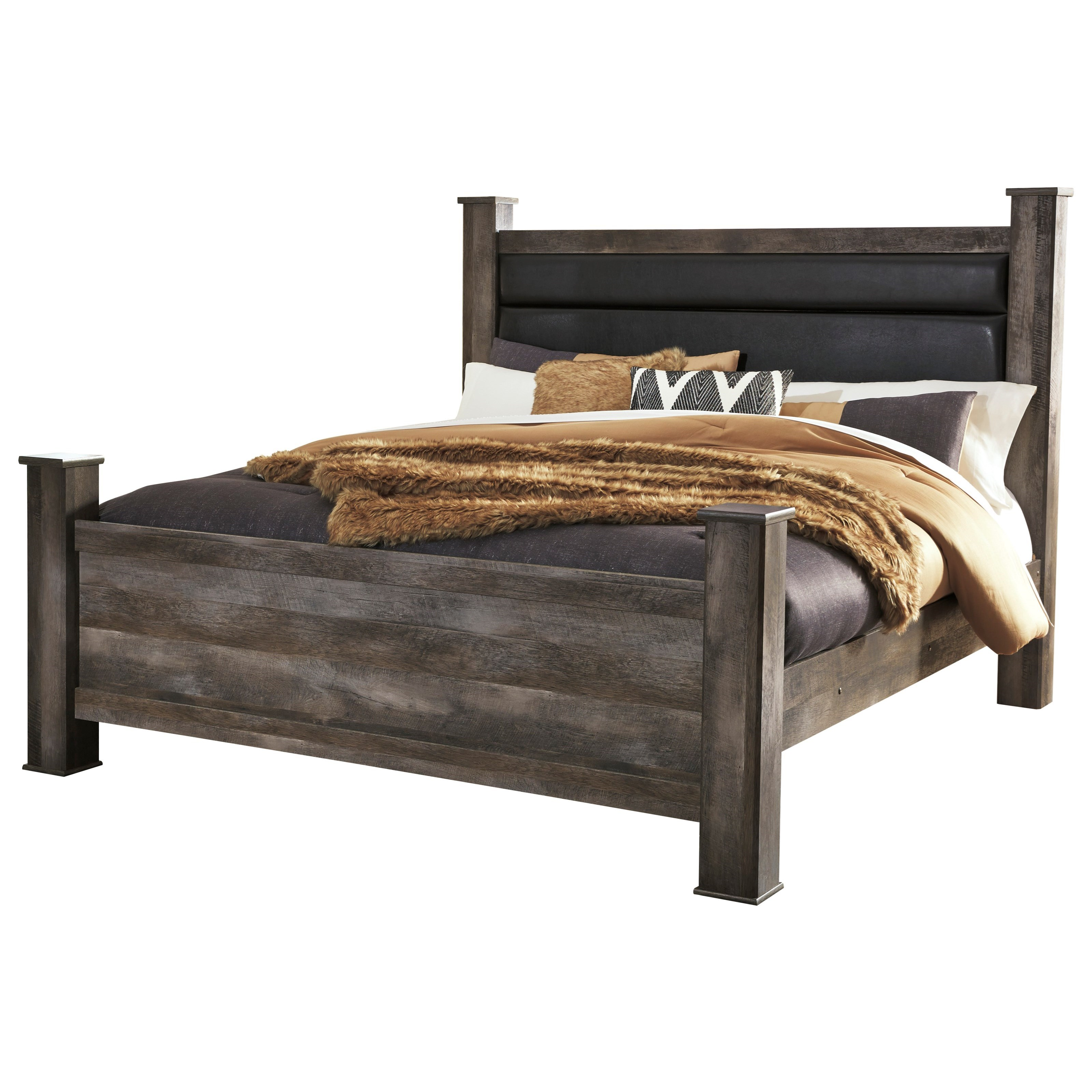 Signature Design By Ashley Wynnlow King Rustic Poster Bed With Upholstered Headboard Rife S