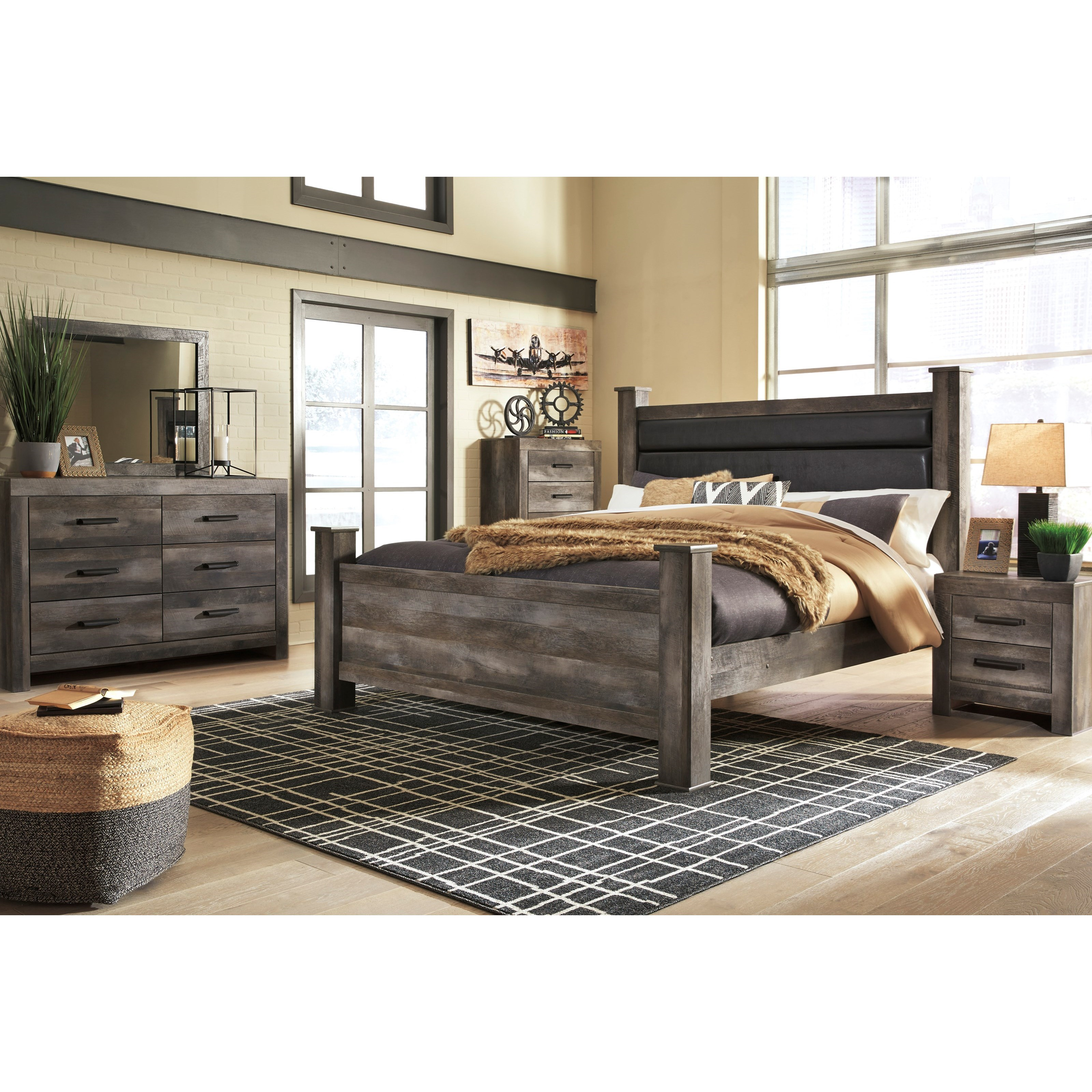 Signature Design By Ashley Wynnlow Queen Rustic Poster Bed