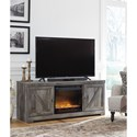 Signature Design by Ashley Wynnlow Large TV Stand in Rustic Gray Finish with Fireplace