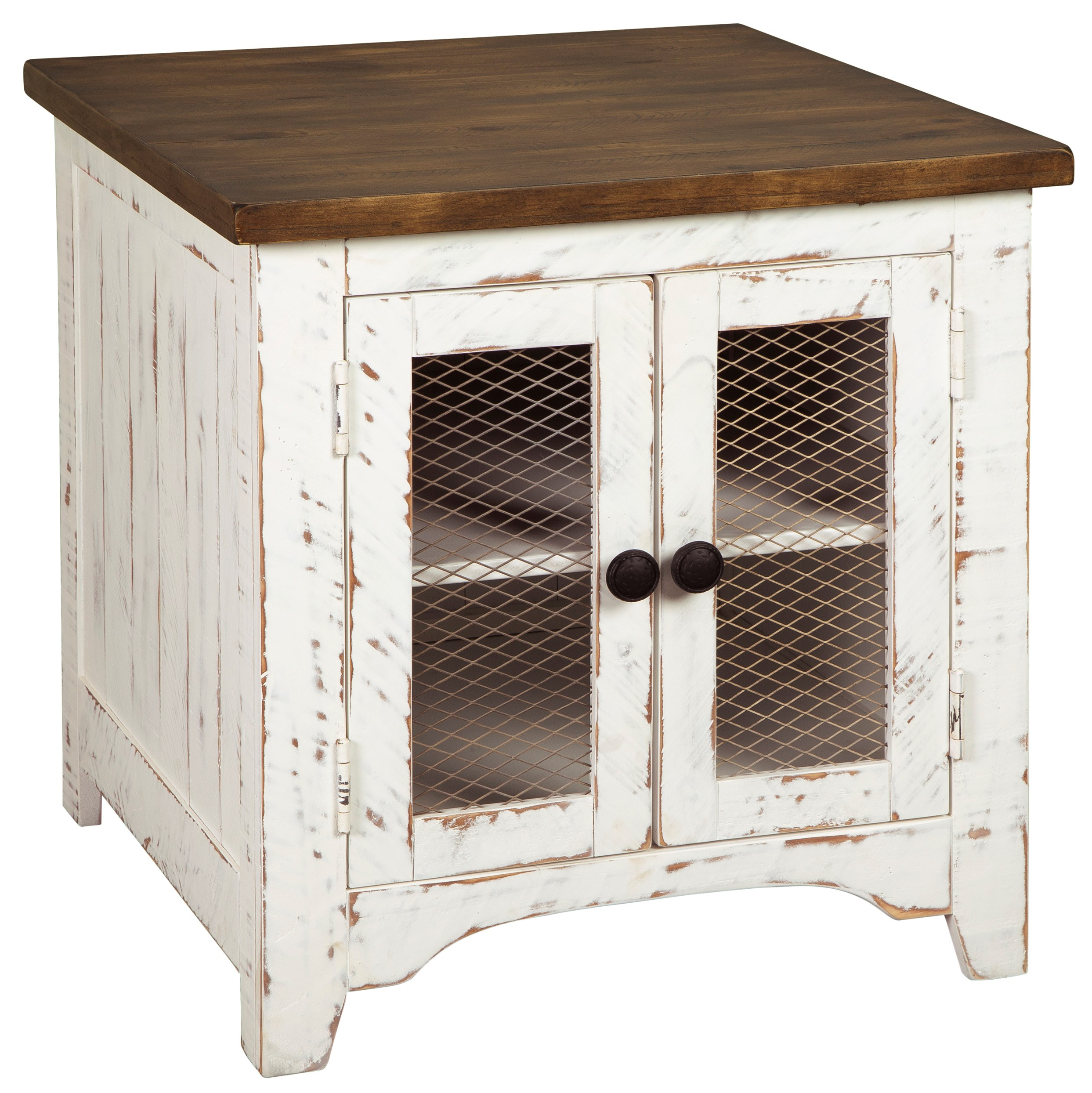 Signature Design By Ashley Wystfield 10546654 Farmhouse Rectangular End Table With Two Tone Finish Pilgrim Furniture City End Tables