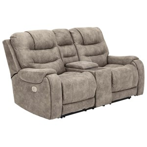 Power Reclining Console Loveseat with Adjustable Headrest and Built-In USB Ports