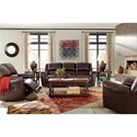Signature Design by Ashley Yancy Leather Match Reclining Power Loveseat