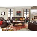 Signature Design by Ashley Yancy Leather Match Reclining Loveseat