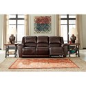 Signature Design by Ashley Yancy Leather Match Reclining Power Sofa