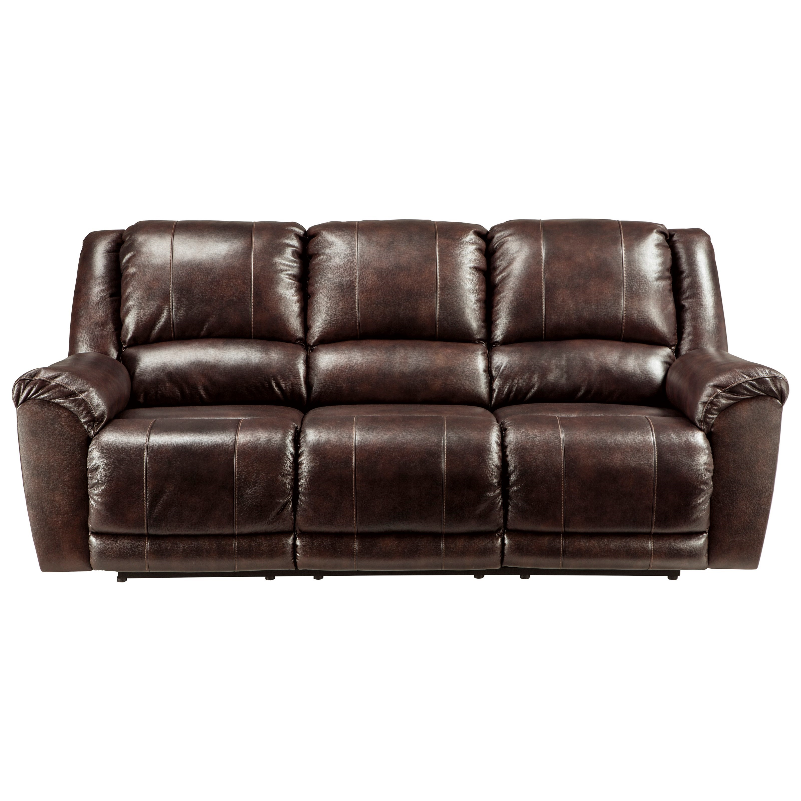 Ashley Signature Design Yancy Leather Match Reclining Sofa