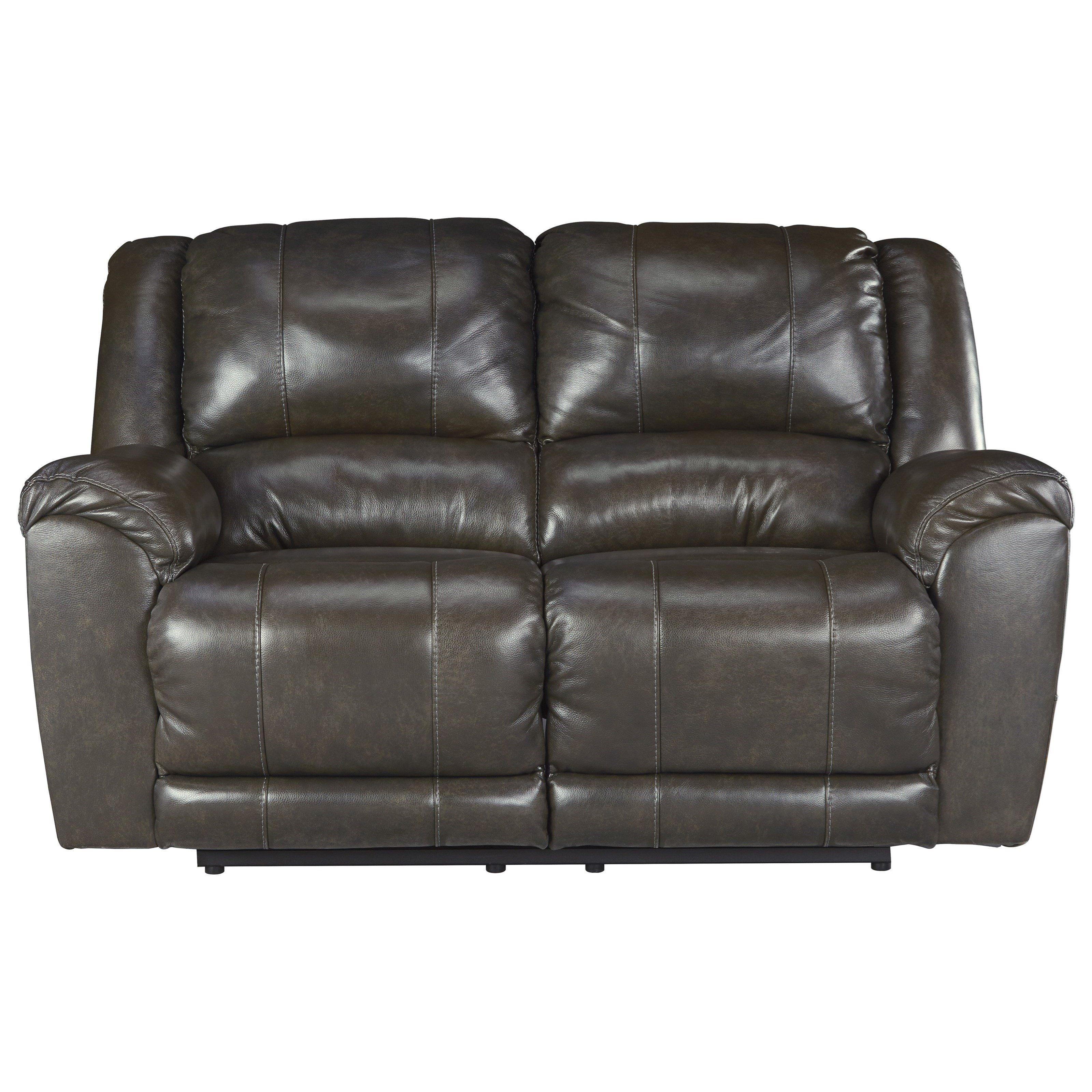 Signature Design By Ashley Yancy Leather Match Reclining Loveseat Furniture Superstore