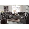 Signature Design by Ashley Yancy Leather Match Reclining Sofa