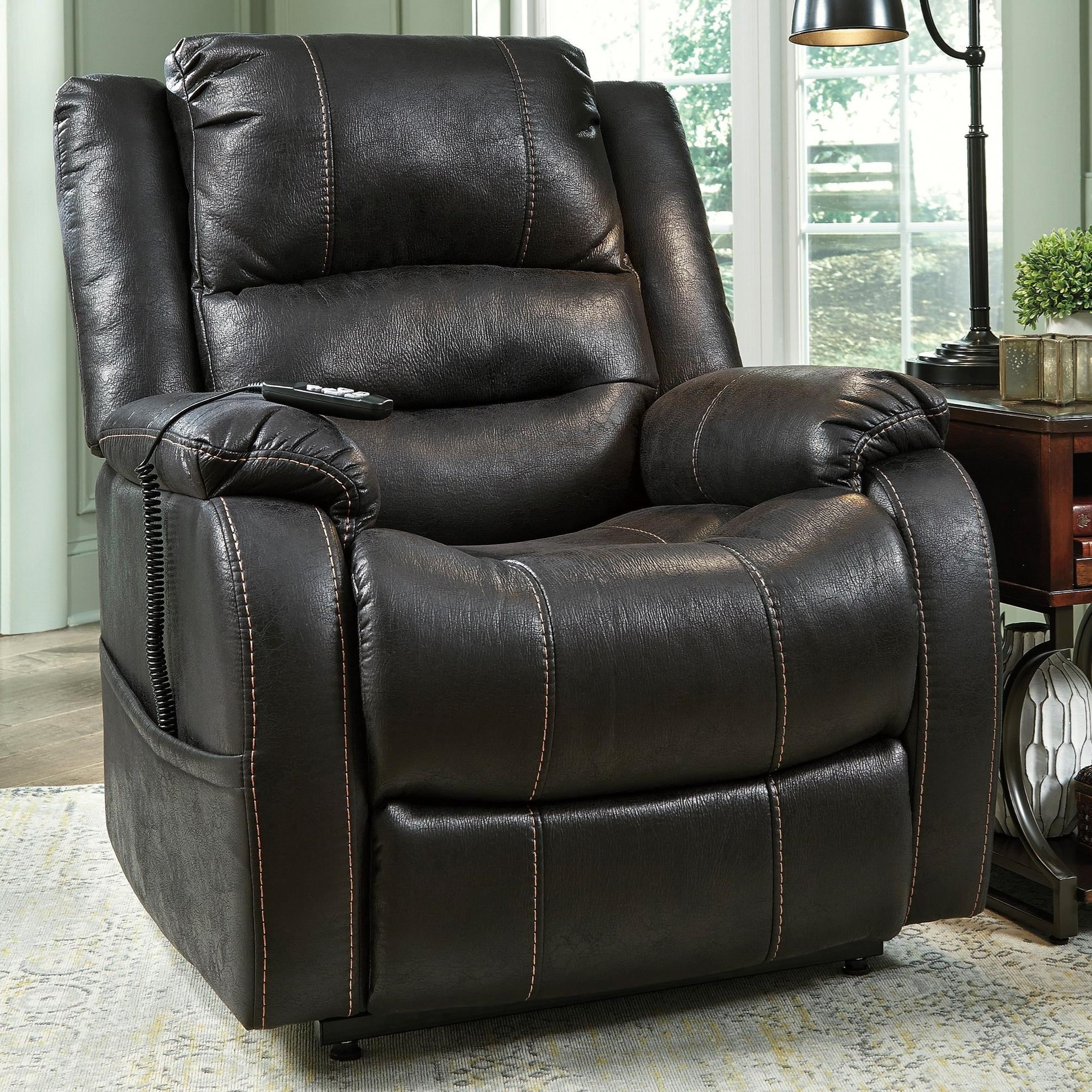 Signature Design by Ashley Yandel Power Lift Recliner - Item Number 1090112 & Signature Design by Ashley Yandel Faux Leather Power Lift Recliner ...
