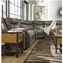 Signature Design by Ashley Zaiden Contemporary Leather Match Reclining Sectional with Console