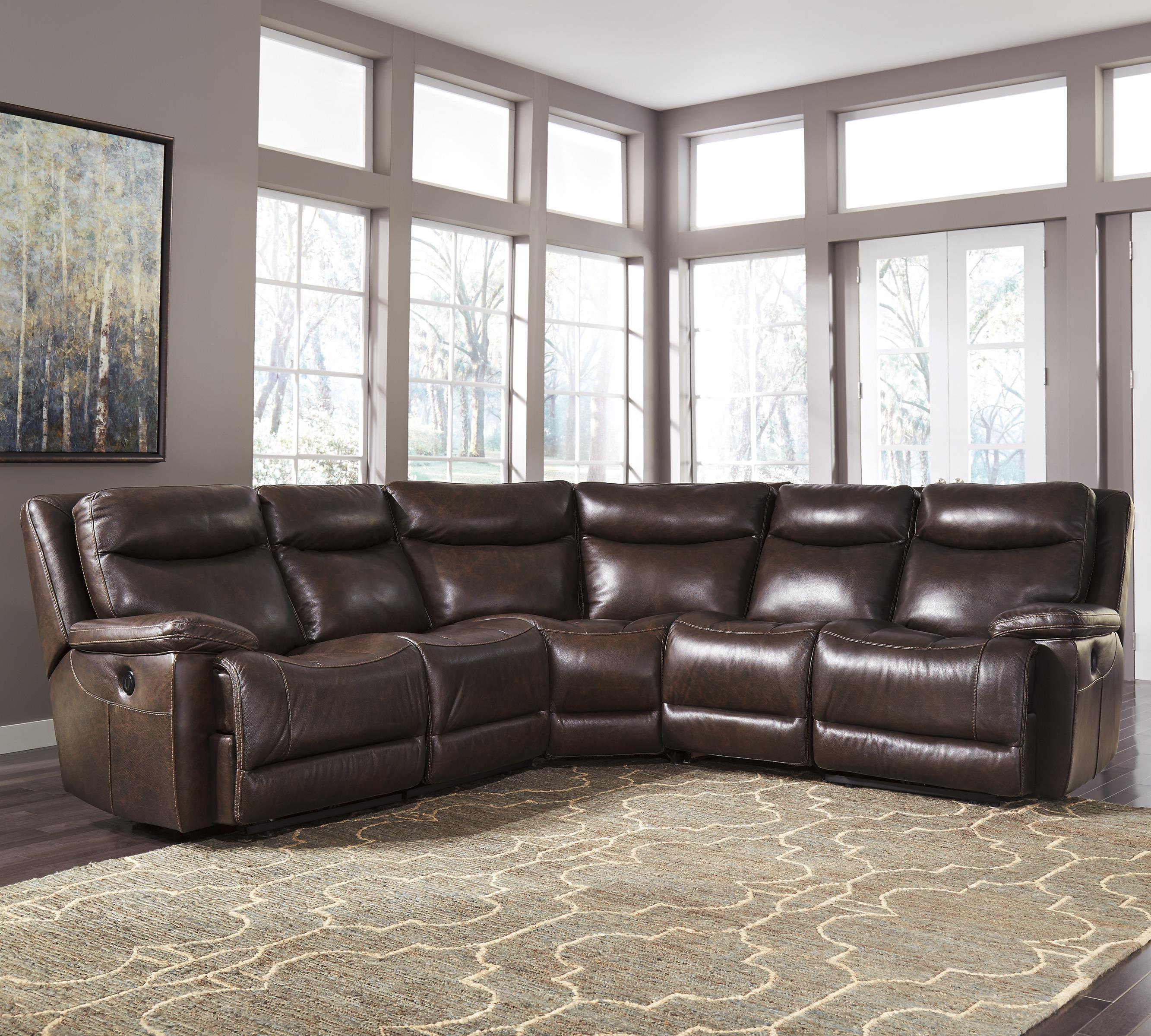 Signature Design by Ashley Zaiden Power Reclining Sectional - Item Number U7500158+19+ & Signature Design by Ashley Zaiden Contemporary Leather Match Power ... islam-shia.org