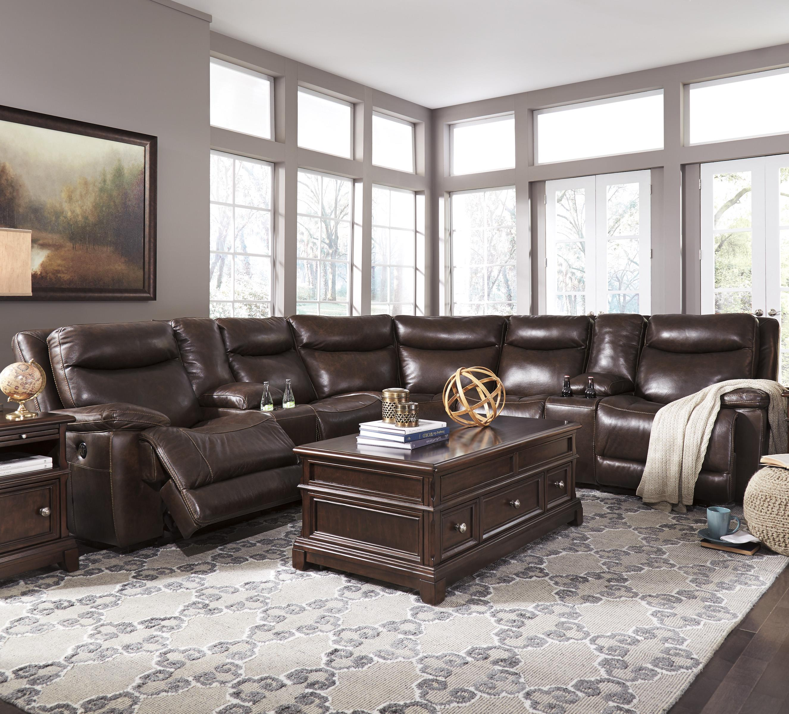 Signature Design by Ashley Zaiden Power Reclining Sectional with 2 Consoles - Item Number: U7500158+2x57+2x19+77+62