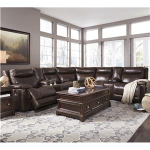 Signature Design by Ashley Zaiden Power Reclining Sectional with 2 Consoles