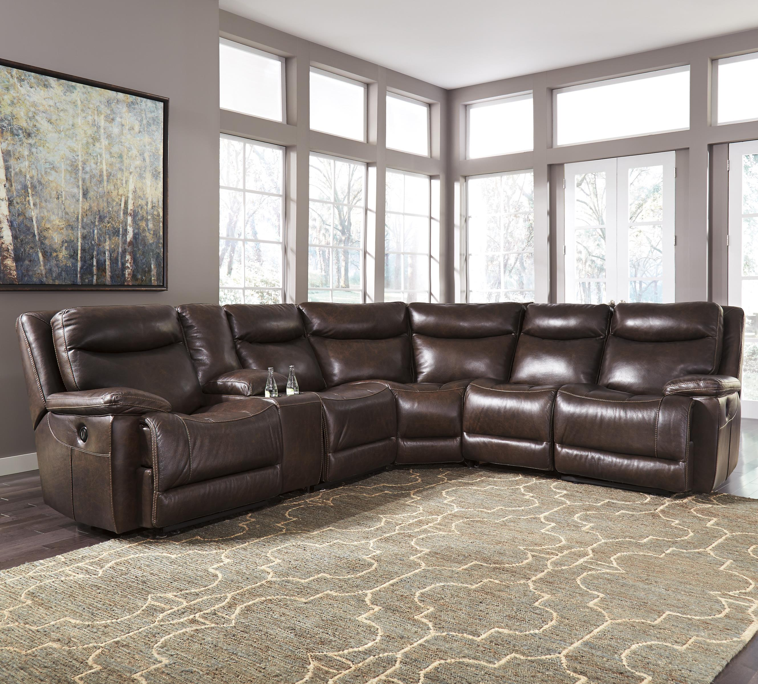 Trendz Bradley Power Reclining Sectional With Console   Item Number:  U7500158+57+19