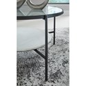 Signature Design by Ashley Zalany Black Metal Round Cocktail Table with Glass Top and White Marble Shelf