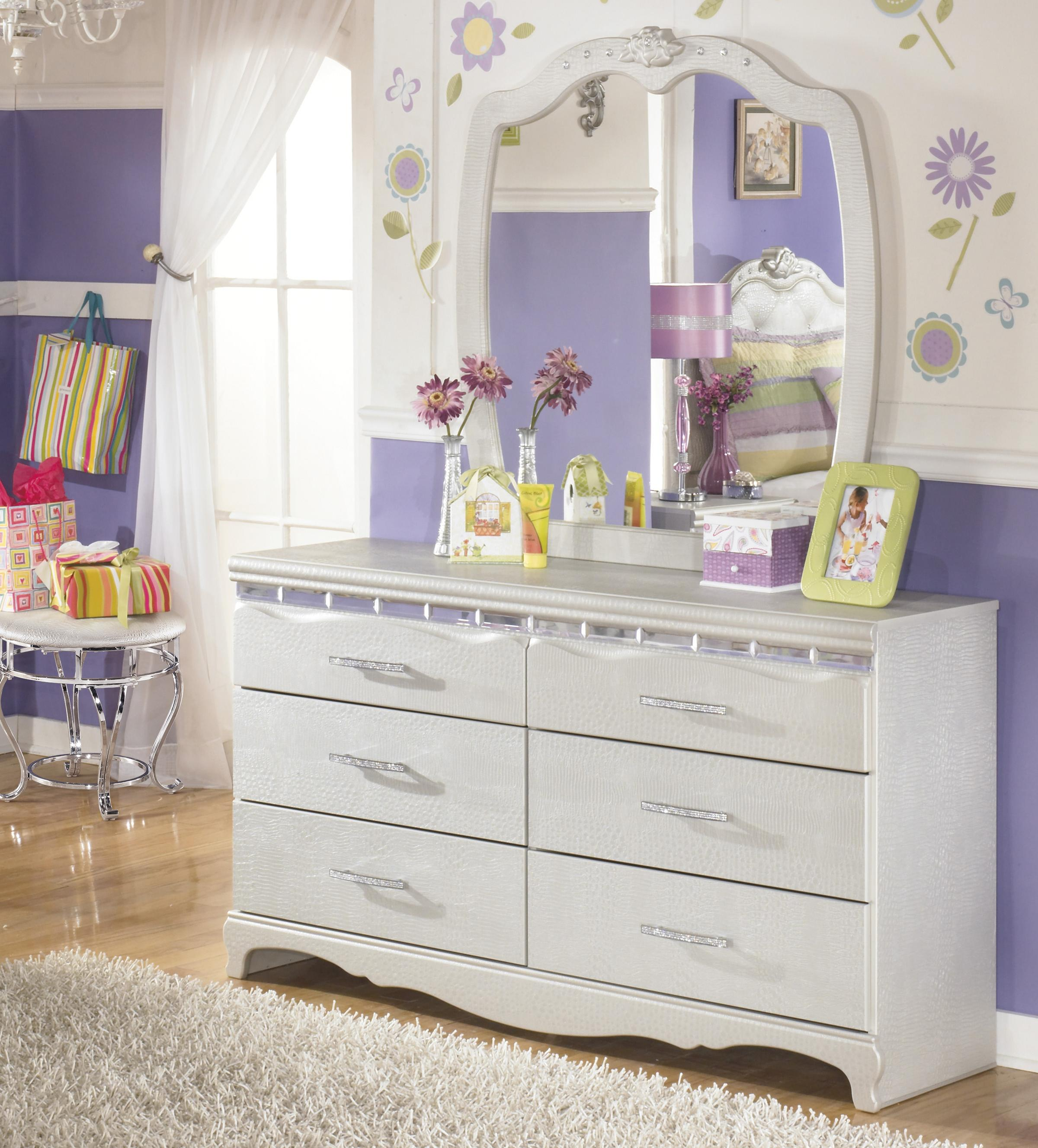 Signature Design by Ashley Zarollina Dresser & Bedroom Mirror - Item Number: B182-21+26