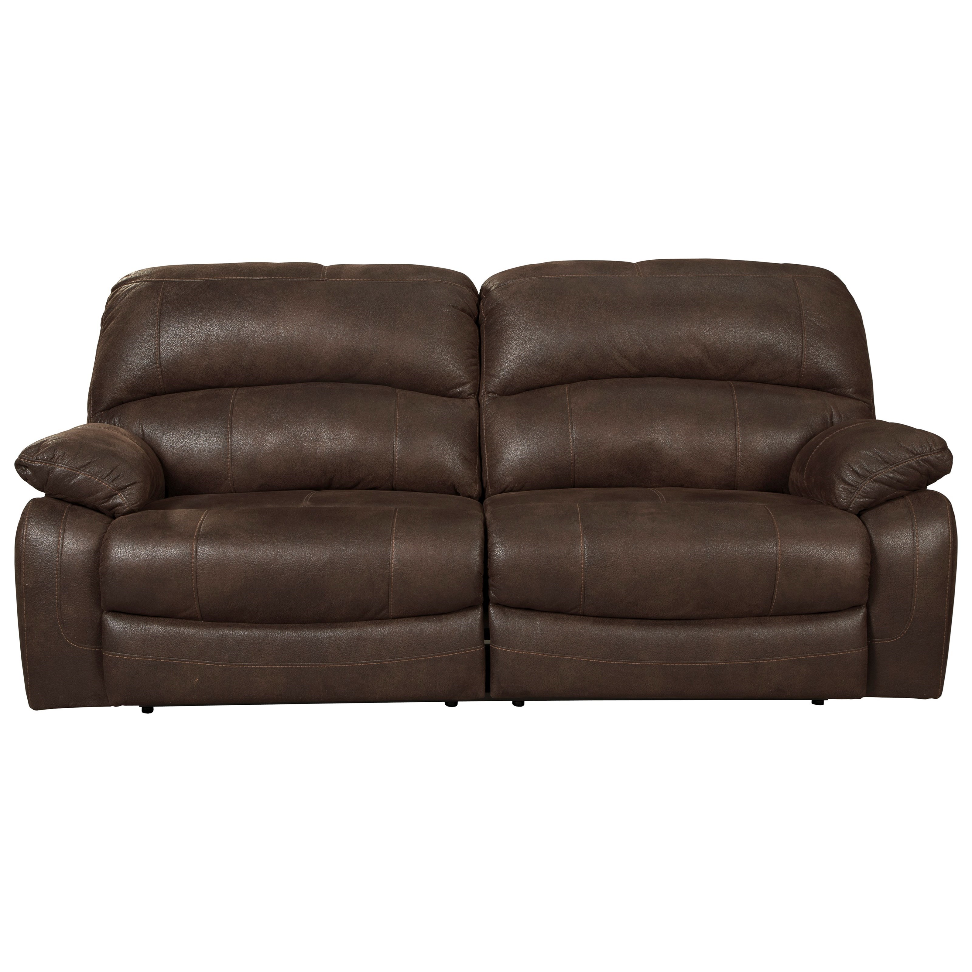Ashley Signature Design Zavier 2 Seat Reclining Sofa In Brown Faux Leather Dunk Bright