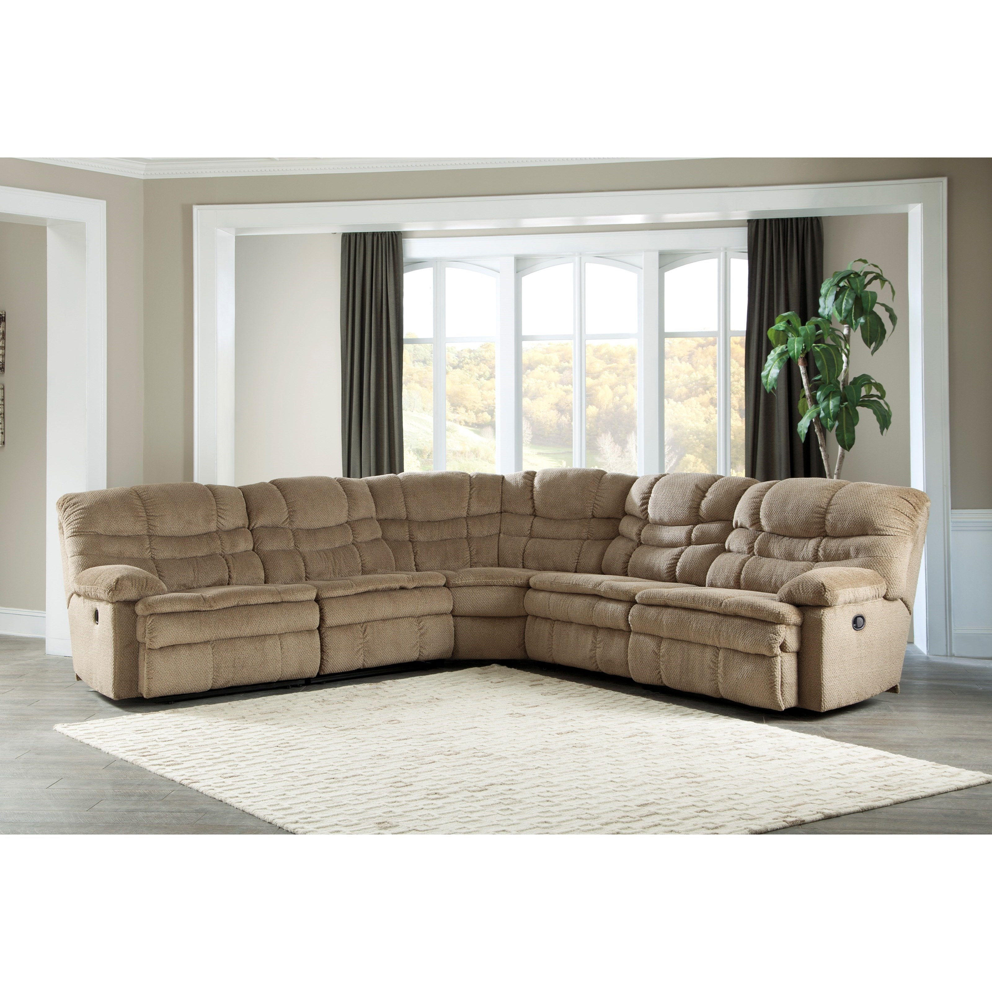 Signature Design by Ashley Zavion 5 Piece Reclining Sectional - Item Number: 6630340+19+77+46+41