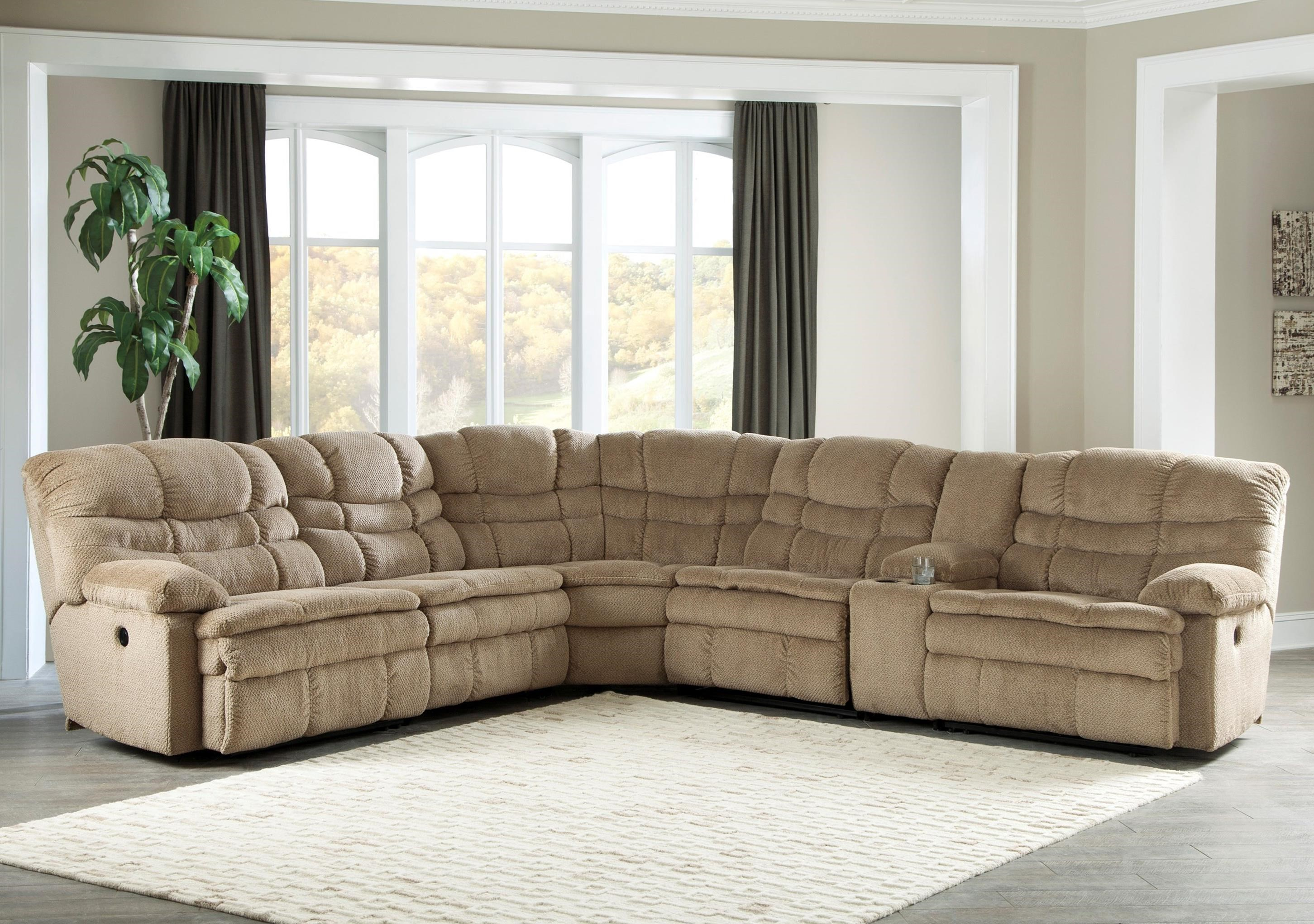 Signature Design by Ashley Zavion 6Pc Power Recl Sectional w/ Storage Console - Item Number: 6630358+46+77+19+77+62