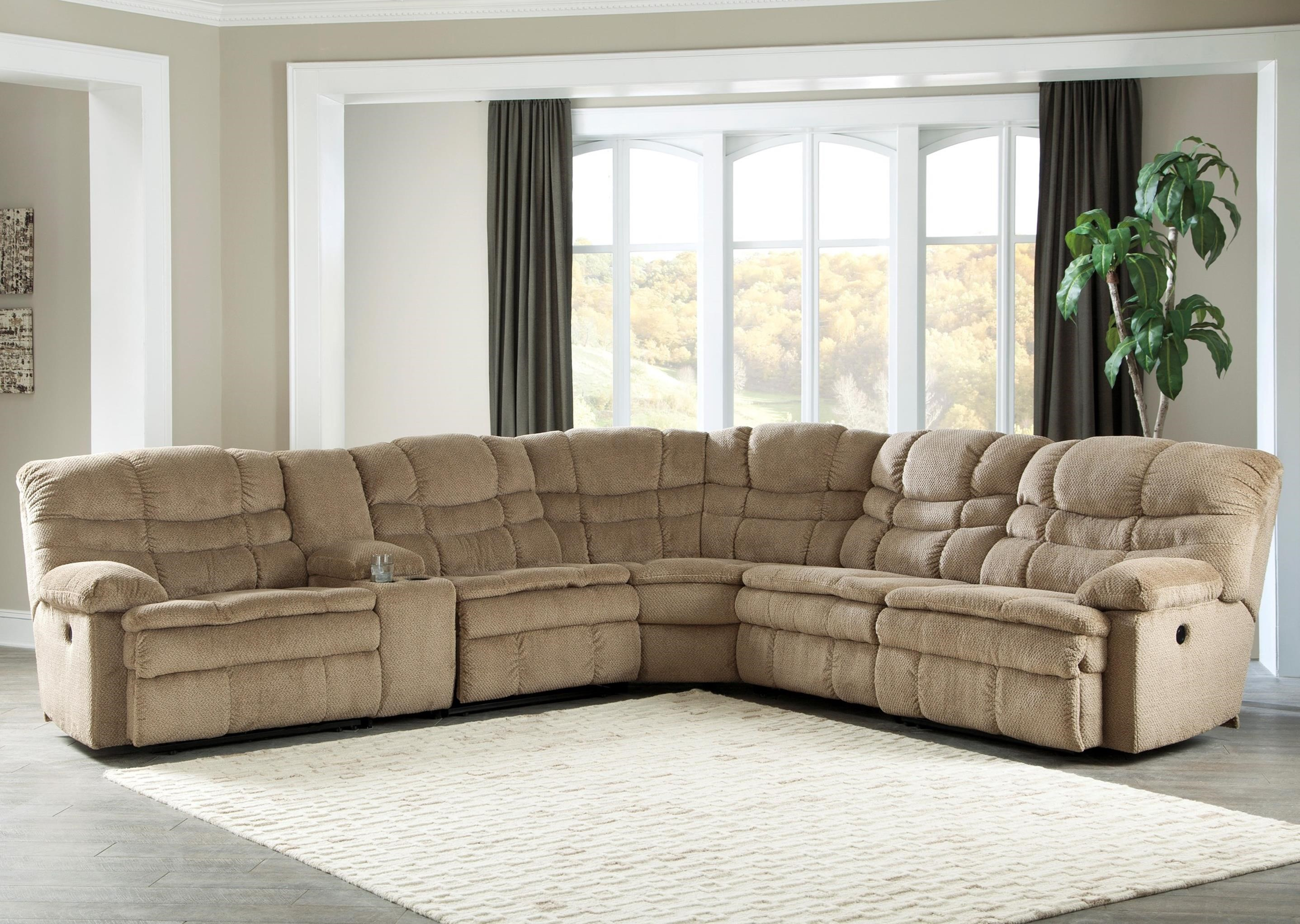 Signature Design by Ashley Zavion 6Pc Power Recl Sectional w/ Storage Console - Item Number: 6630358+57+19+77+46+62