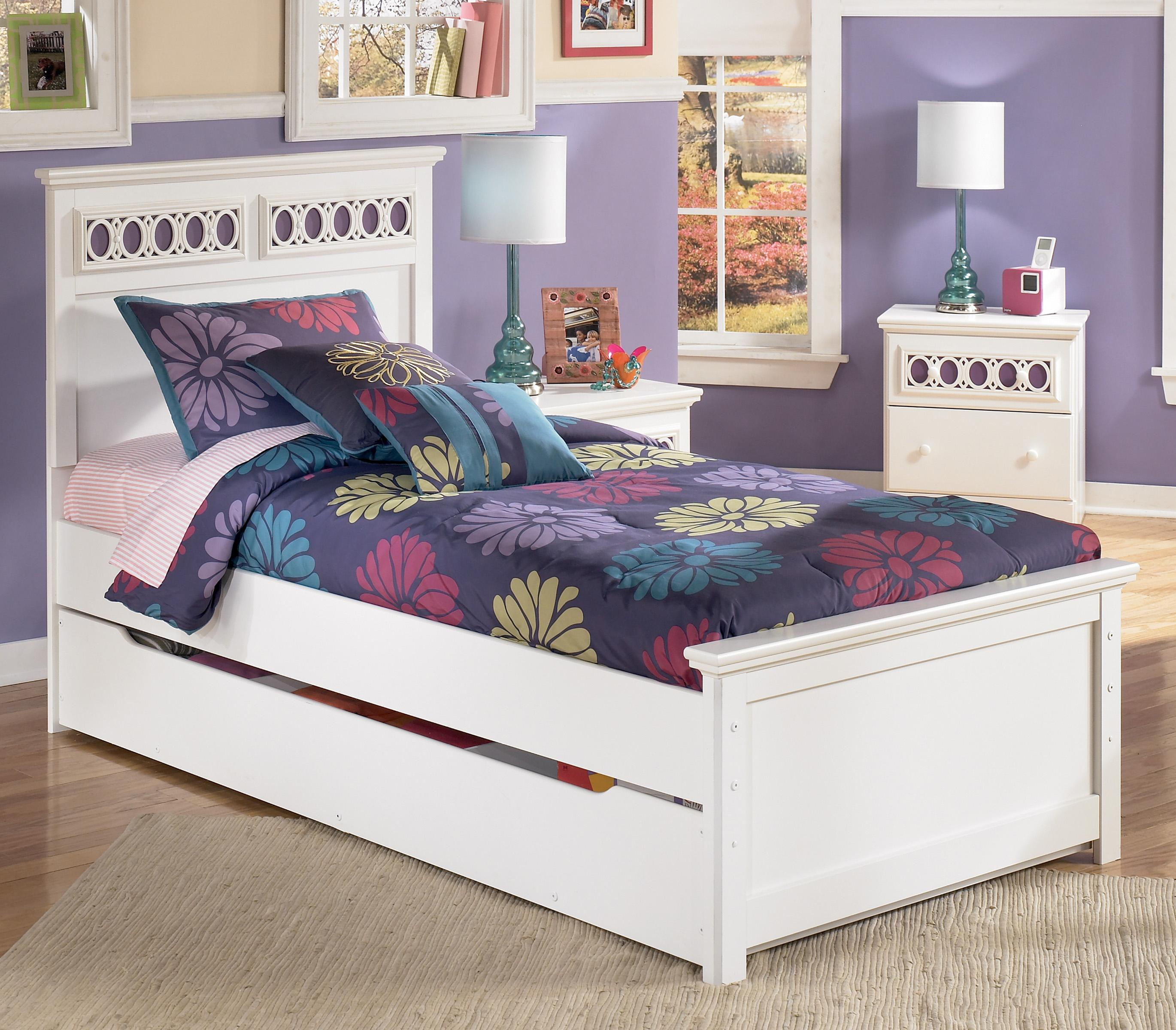 Signature Design by Ashley Zayley Twin Platform Bed with Trundle Storage Box - Item Number: B131-53+52+83+60+B100-11