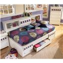 Signature Design by Ashley Zayley Twin Bedside Bookcase Daybed with Customizable Color Panels - Detail of Storage