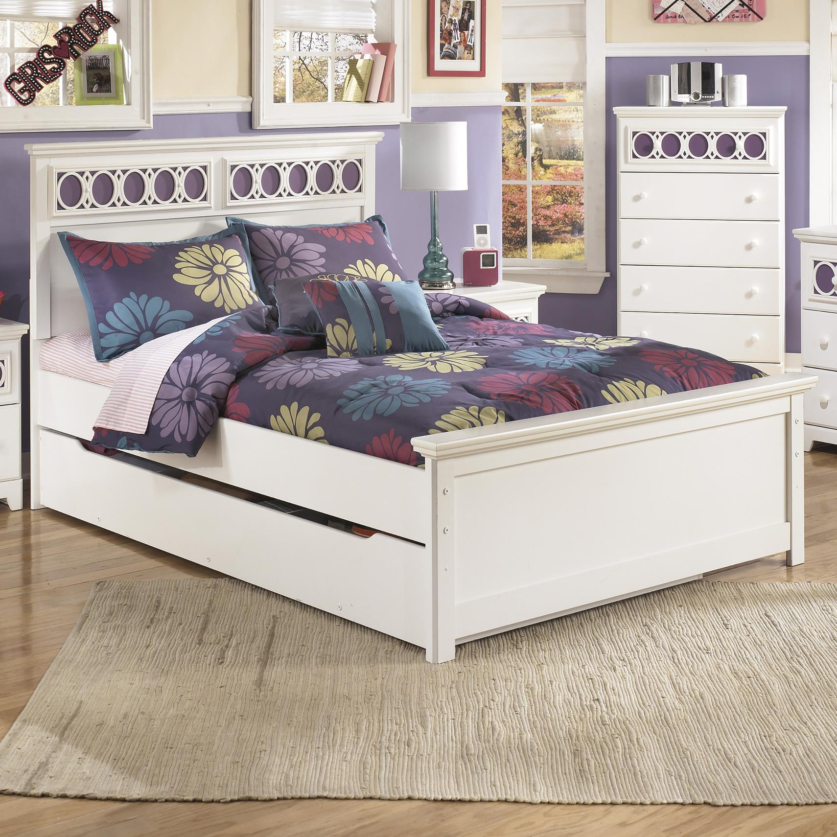 Signature Design by Ashley Zayley Full Panel Bed with Trundle Storage Box - Item Number: B131-87+84+86+60