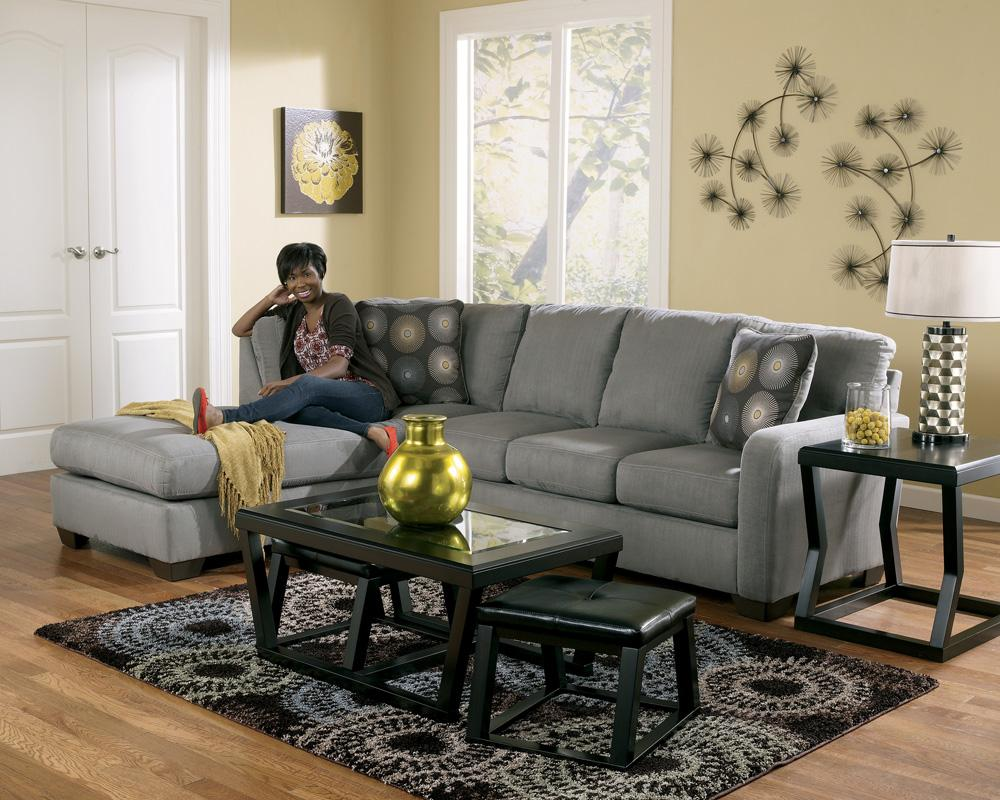 Signature design by ashley zella charcoal contemporary for Ashley sectional sofa with chaise