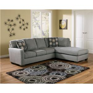 Signature Design by Ashley Furniture Zella - Charcoal Sectional Sofa with Right Arm Facing Chaise