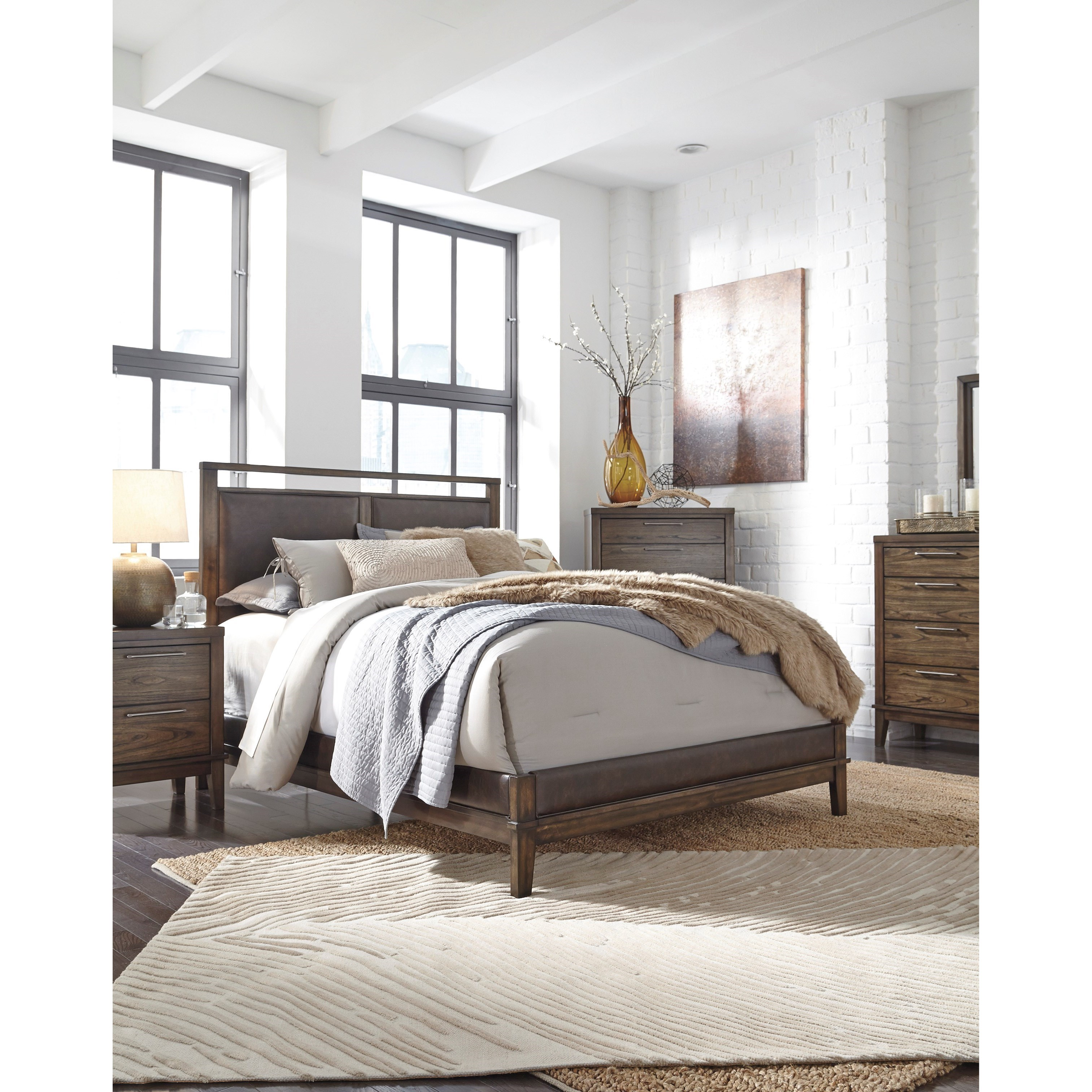Ashley Signature Design Zilmar Contemporary Queen Upholstered Panel Bed Dunk Bright