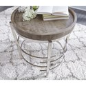 Signature Design by Ashley Zinelli Round End Table with Solid Wood Top and Polished Chrome Base