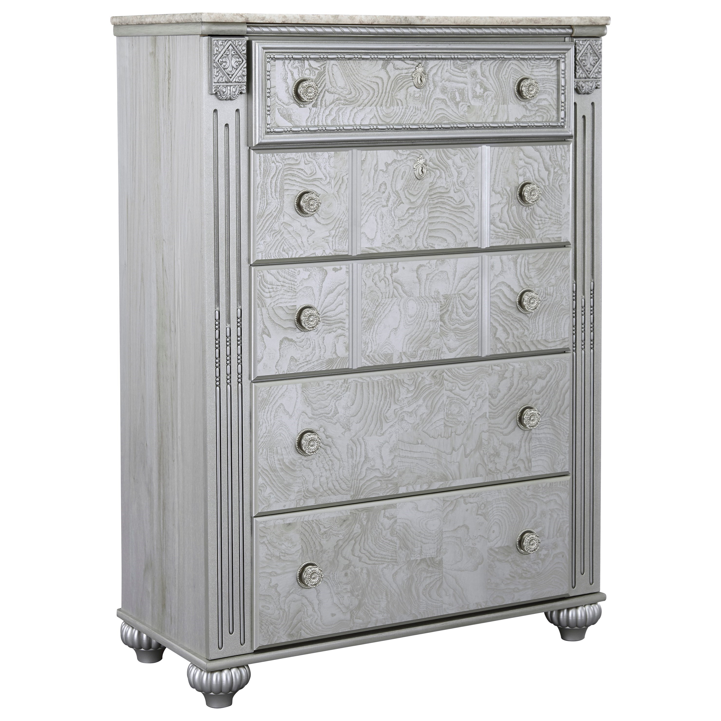 Signature Design by Ashley Zolena Glam 5 Drawer Chest - Item Number: B357-46